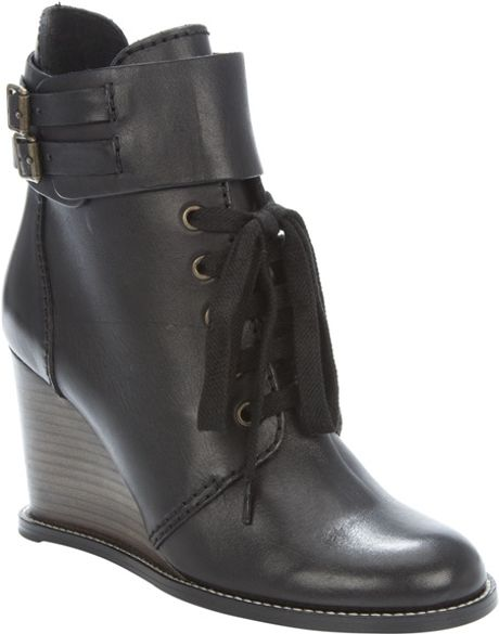 see by chlo 233 lace up wedge ankle boot in black lyst