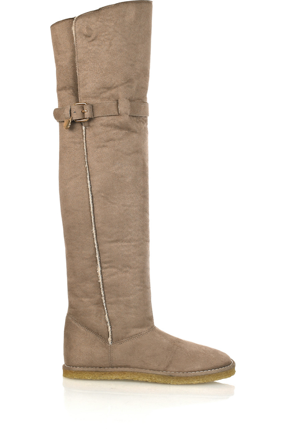 Lyst Stella Mccartney Shearling Lined Thigh Boots In Brown