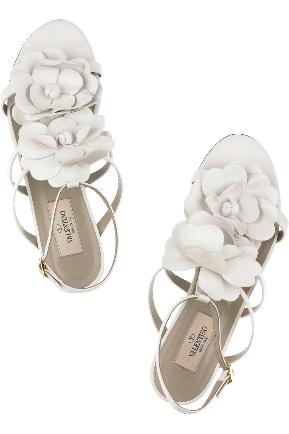 Lyst Valentino Flower Leather Sandals In White