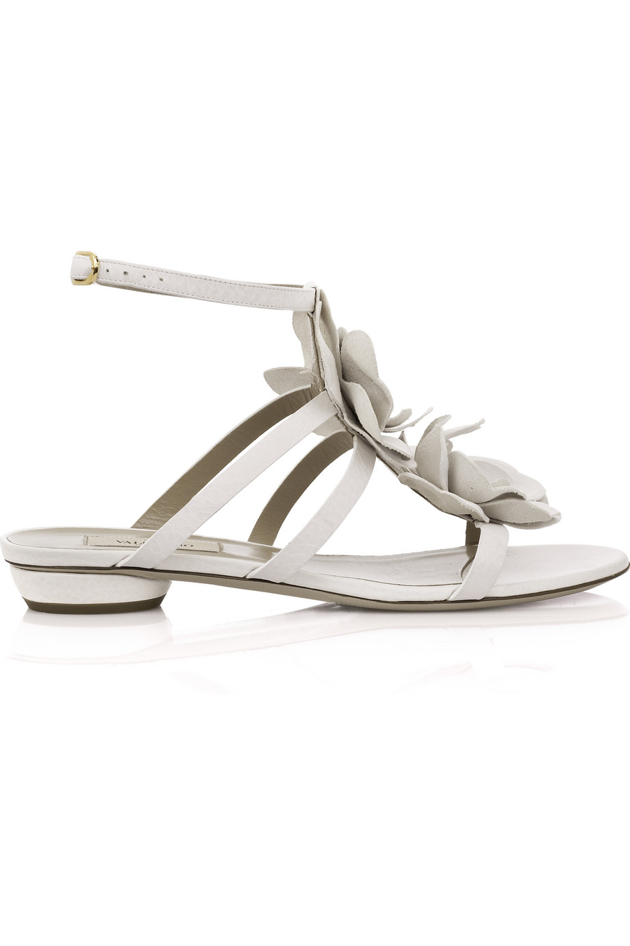 Valentino Flower Leather Sandals In White Lyst
