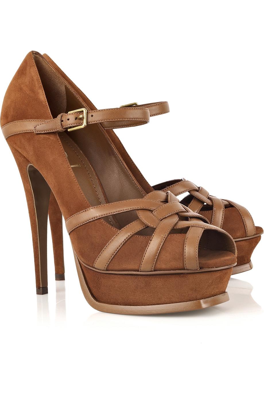 Saint Laurent Tribute Suede Sandals In Brown Lyst