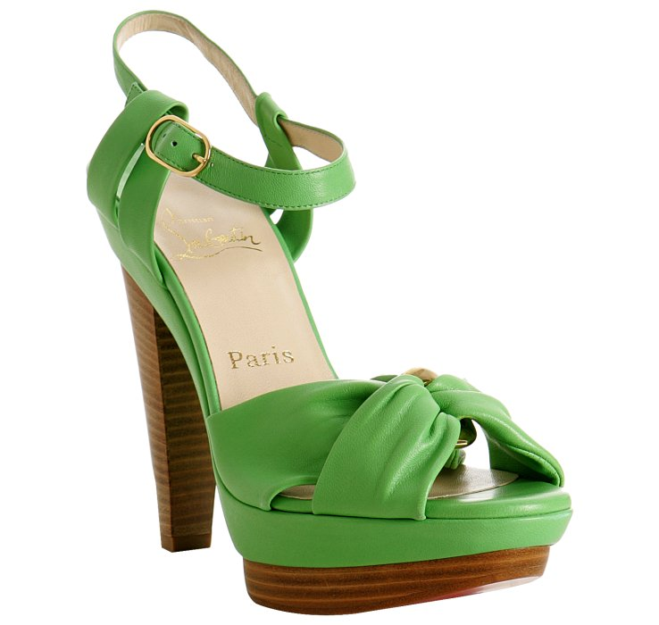 Christian louboutin Bright Green Leather Talitha Platform Sandals ...