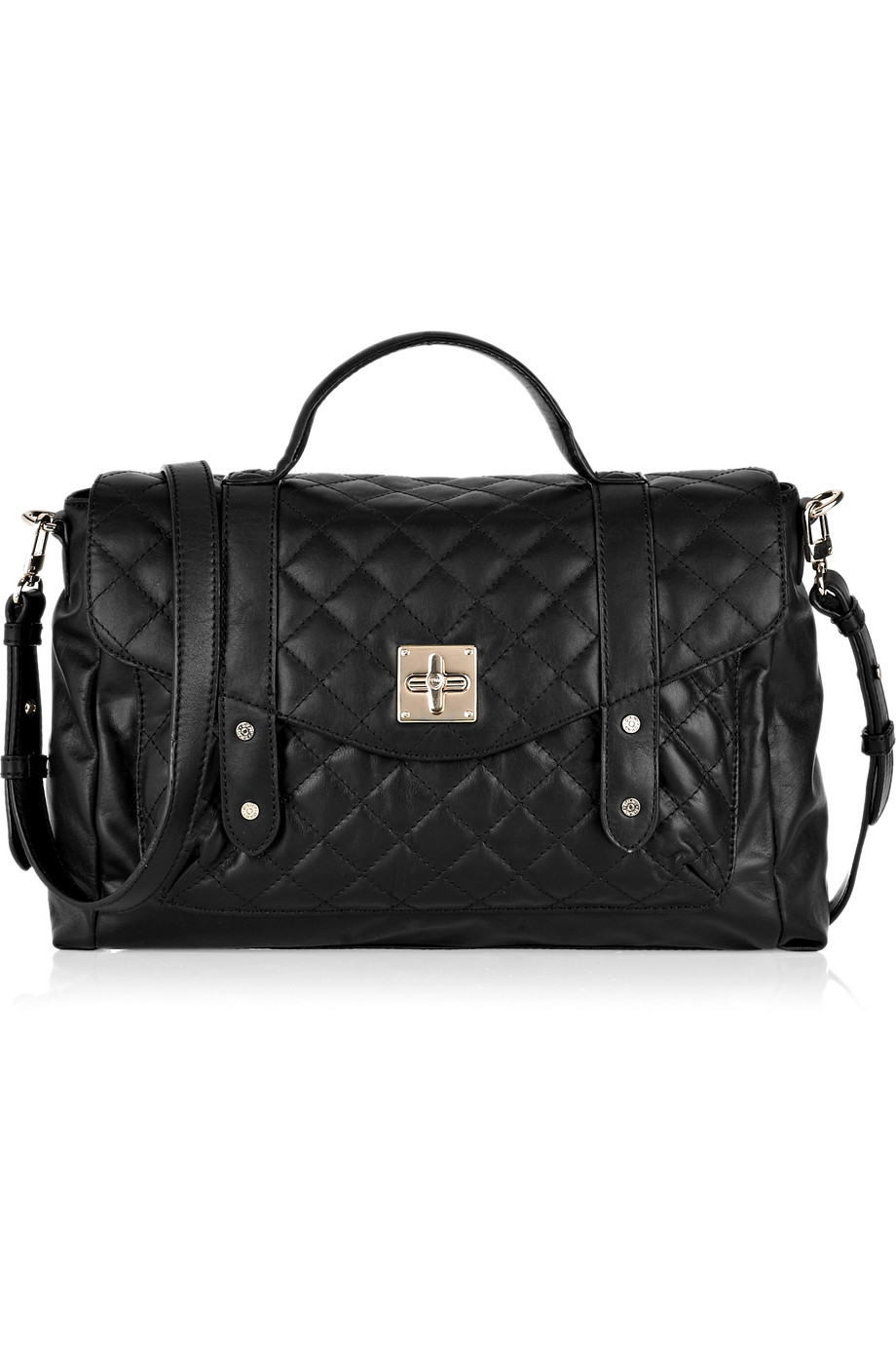 Lyst Dkny Quilted Leather Messenger Bag In Black