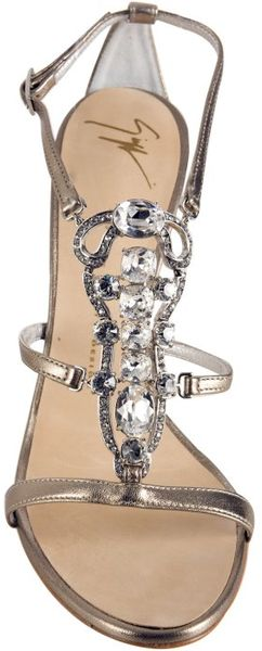 Giuseppe Zanotti Bronze Leather Jeweled Evening Sandals In