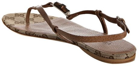Gucci Light Brown Leather Bamboo Icon Thong Sandals In