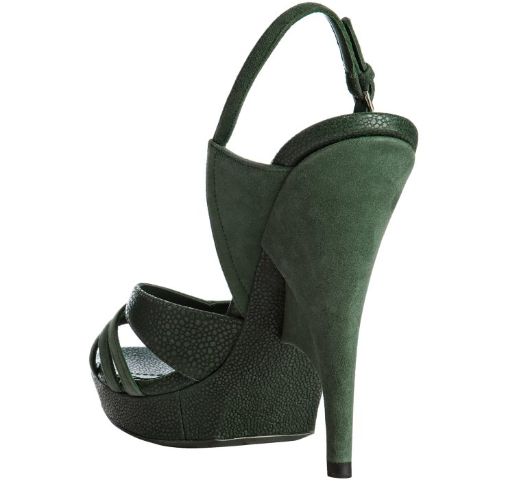 649f216b2cc6 Saint Laurent Dark Green Suede and Leather Ideale 105 Slingback ...