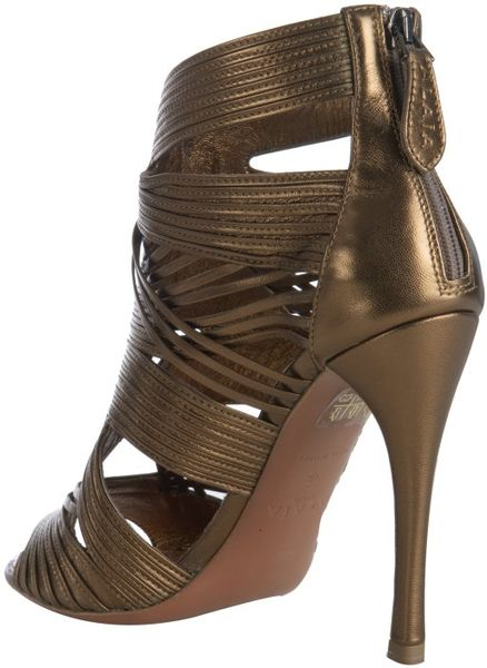Ala 239 A Bronze Strappy Leather Peep Toe Sandals In Gold