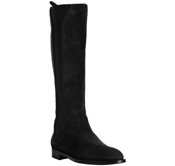 laurent black suede hyde 15 flat boots in black lyst