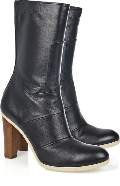 jil sander nappa leather calf length boots in black lyst