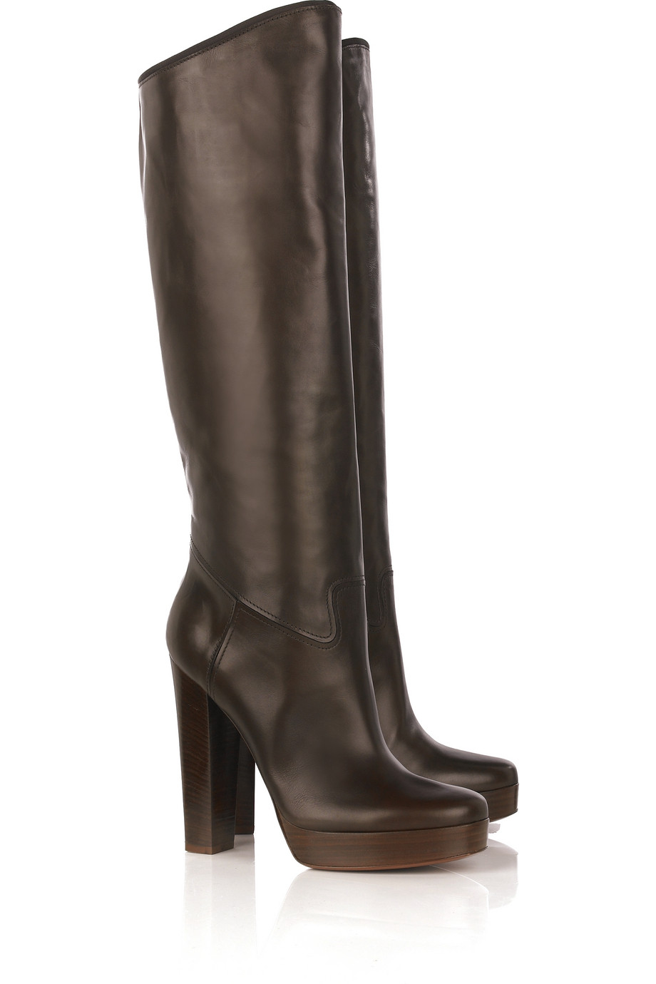 lanvin brown leather platform boots in brown lyst