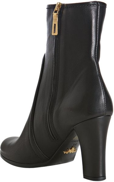 Prada Black Leather Side Zip Ankle Boots In Black Lyst