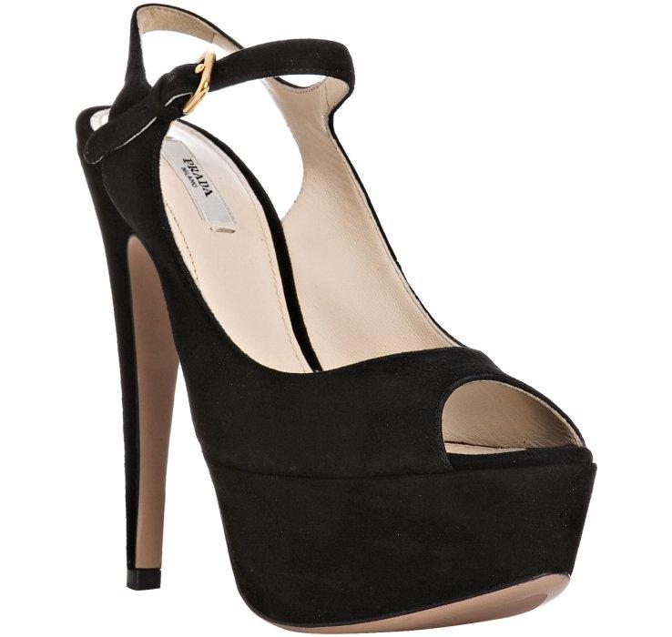 c406723e0b6 Prada - Black Suede Ankle Strap Platform Pumps - Lyst