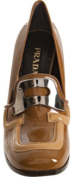 Prada Brandy Patent Leather Loafer Pumps In Brown Brandy