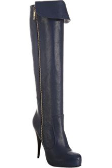 Fendi Cobalt Leather Cuff Detail Knee-high Boots - Lyst