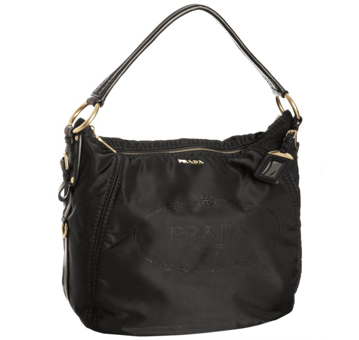 prada black nylon logo jacquard hobo shoulder bag in black
