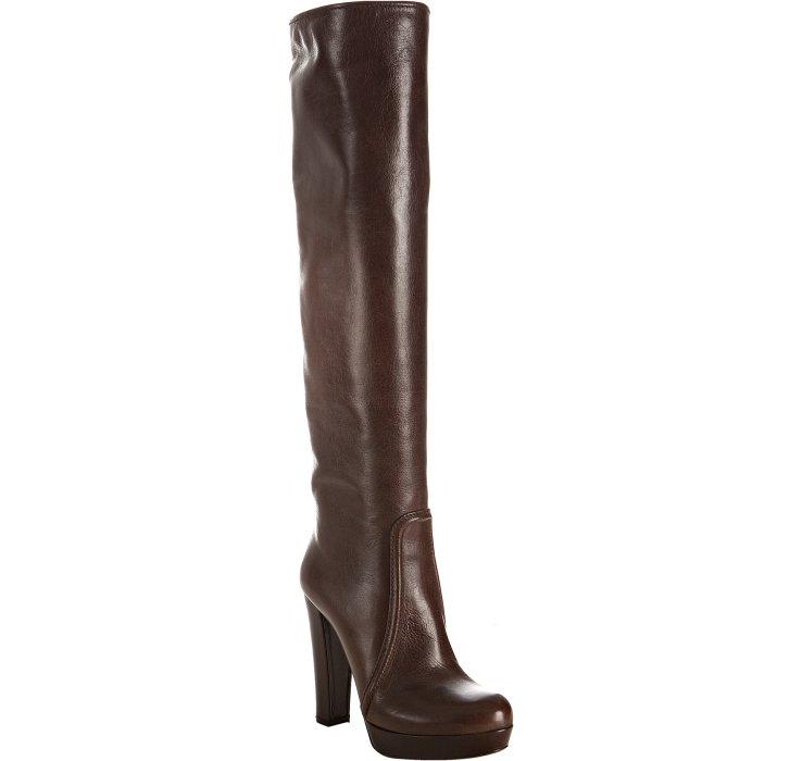 prada chocolate leather platform boots in brown