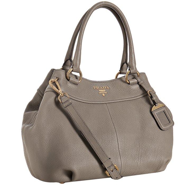Prada Clay Pebbled Leather Sacca 2 Manici Shoulder Bag in Brown ...