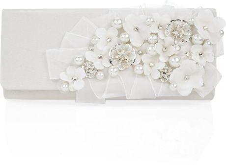 Oscar De La Renta Silk Embroidered Clutch in White