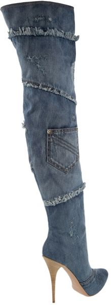gianmarco lorenzi denim high thigh boots in blue lyst