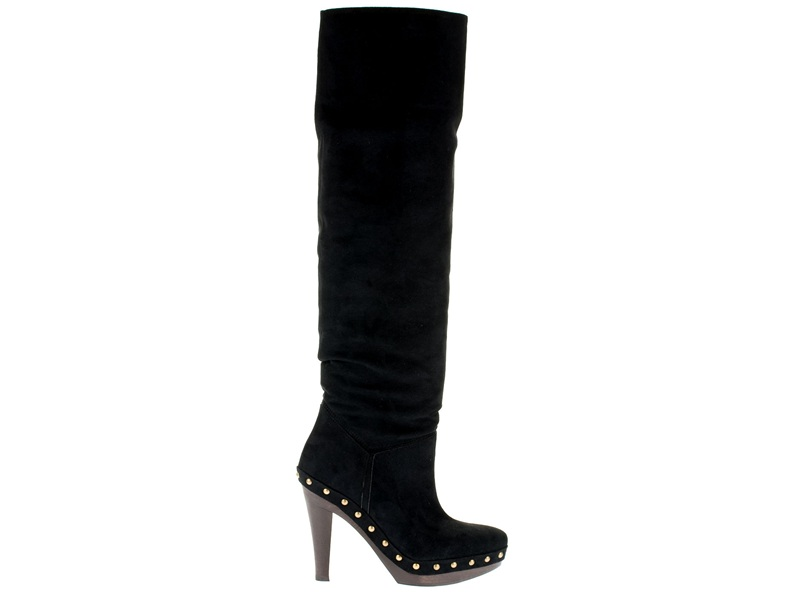 Stella McCartney Faux Leather Studded Knee Boots in Black