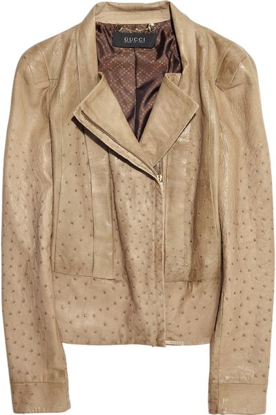 Gucci Ostrich-leather Jacket in Beige (camel)