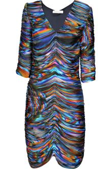 Matthew Williamson Printed Ruched Satin-jersey Dress - Lyst