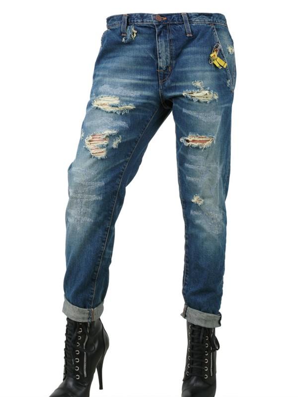 people destroyed boyfriend fit denim jeans in blue lyst. Black Bedroom Furniture Sets. Home Design Ideas
