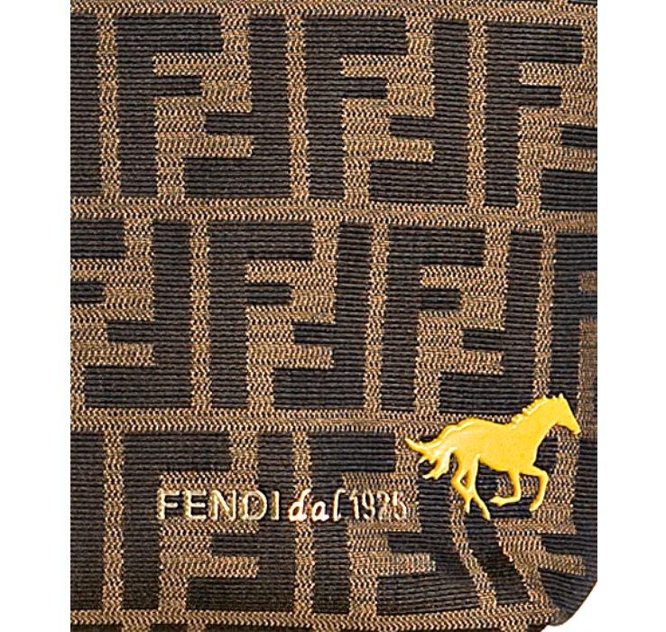 Fendi Tobacco Zucca Canvas Roll Horse Detail Tote Bag In