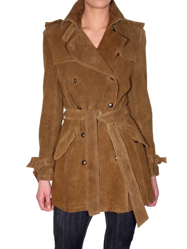 lyst les soeurs suede trench coat in brown. Black Bedroom Furniture Sets. Home Design Ideas