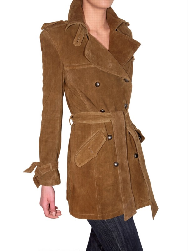 les soeurs suede trench coat in brown lyst. Black Bedroom Furniture Sets. Home Design Ideas