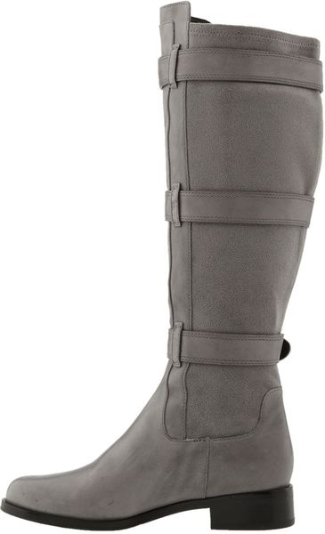 cole haan air avalon buckled leather boots in gray