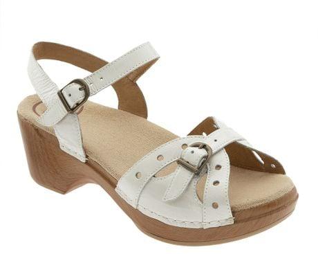 dansko sissy sandal in white white crinkle patent lyst