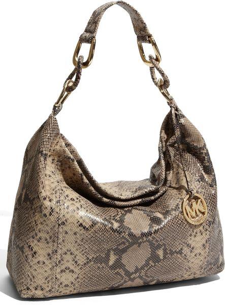 Michael Michael Kors Oversized Id Chain Shoulder Bag Black Python 98