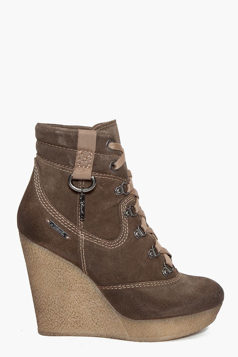 diesel rosko wedge boots in brown lyst