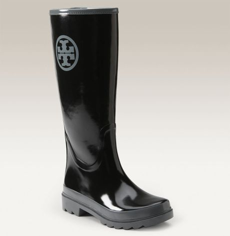 Tory Burch Logo Rain Boots In Black Lyst
