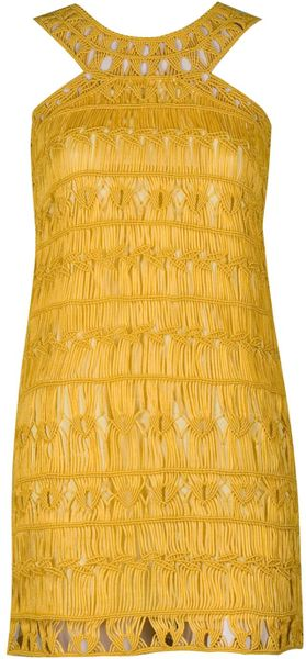 Diane Von Furstenberg Liza Crochet Macramé Dress in Yellow