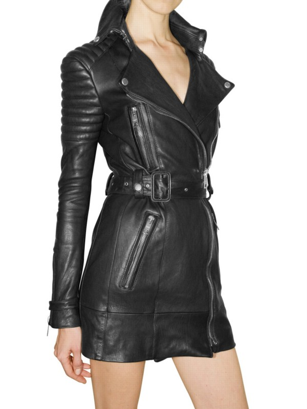 Burberry prorsum Long Biker Leather Jacket in Black | Lyst