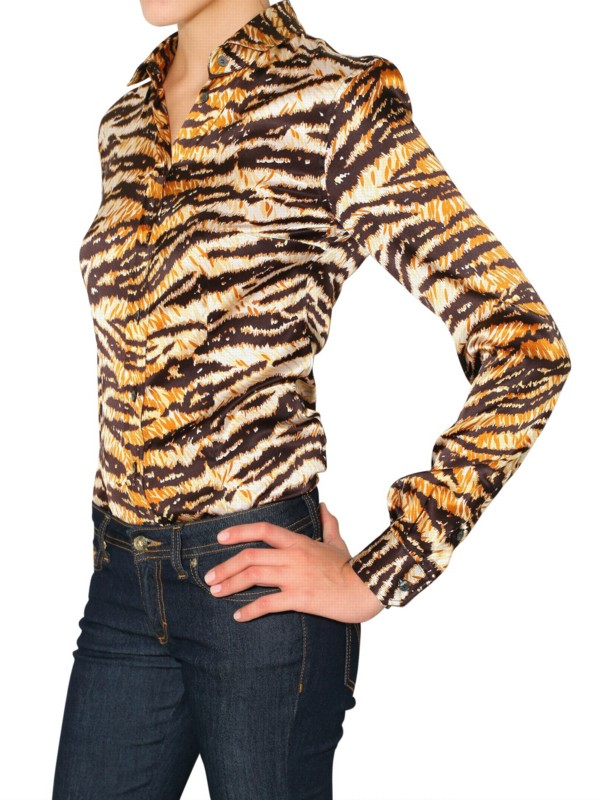 7bc7bb81 Dolce & Gabbana Tiger Print Stretch Satin Shirt - Lyst