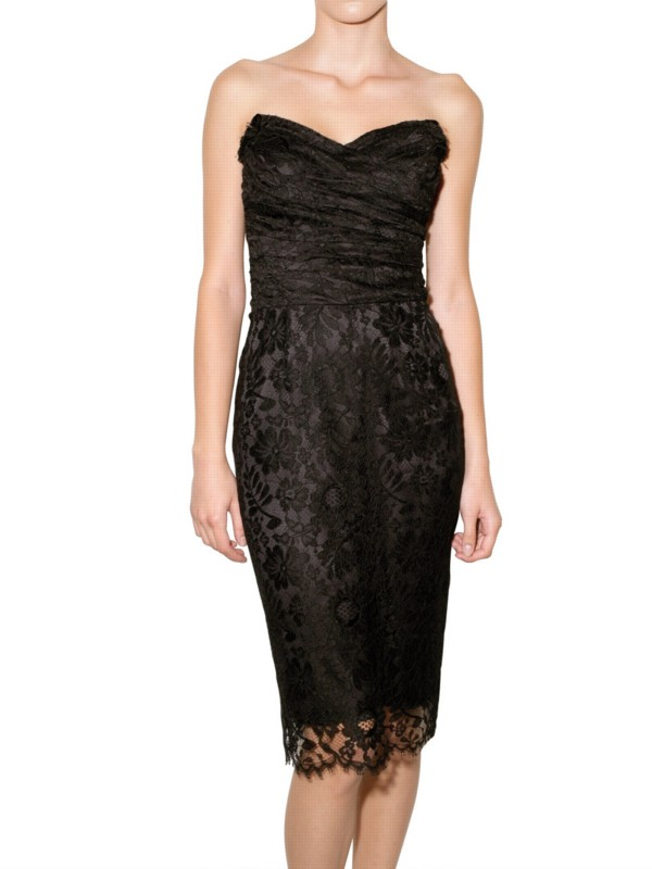 Dolce Amp Gabbana Lace Bustier Dress In Black Lyst