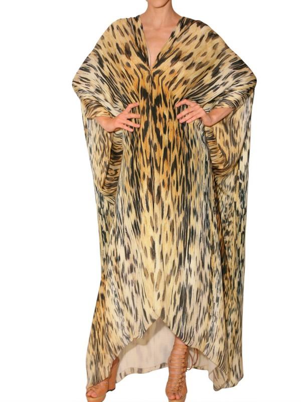 99c81c93e Roberto Cavalli Leopard Print Chiffon Kaftan Dress - Lyst