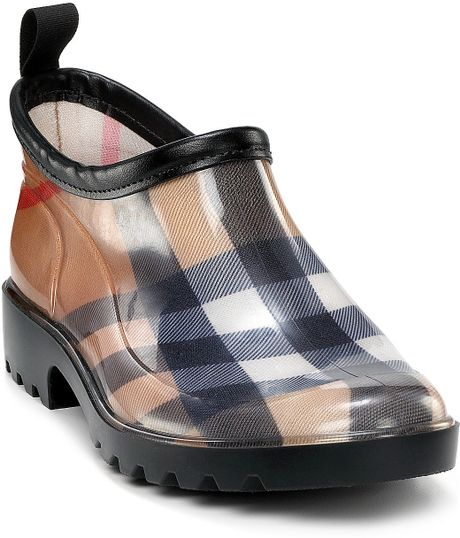 Burberry Womens Check Rain Shoes in Beige (Icon Black