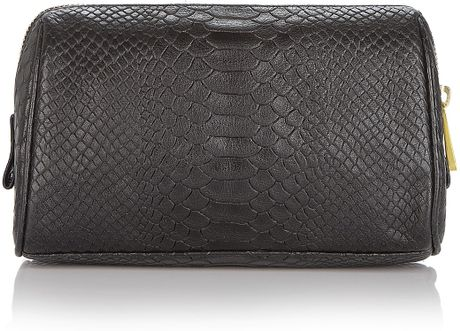 Monogrammed Makeup Bags on Rebecca Minkoff Monogram Leather Cosmetic Bag In Black   Lyst