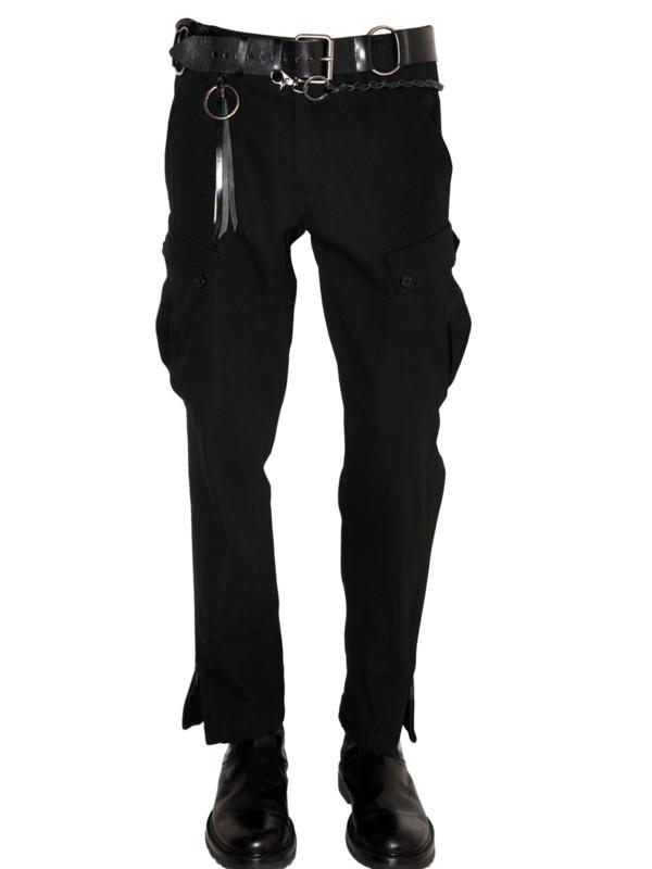 Ann Demeulemeester Fustian Cargo Trousers In Black For Men