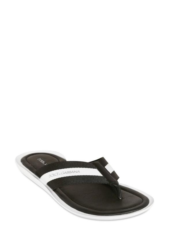 1108e2d08a2e38 Lyst - Dolce   Gabbana Grosgrain and Calf Flip Flop Sandals in Black ...