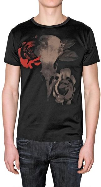 John richmond roses print jersey t shirt in black for men for T shirt printing richmond va