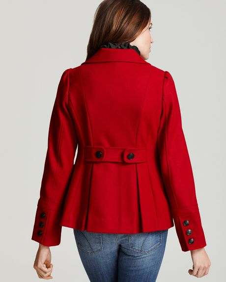 Guess Cutaway Pea Coat In Red Black Lyst
