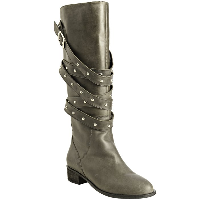 charles david black leather romp studded boots in