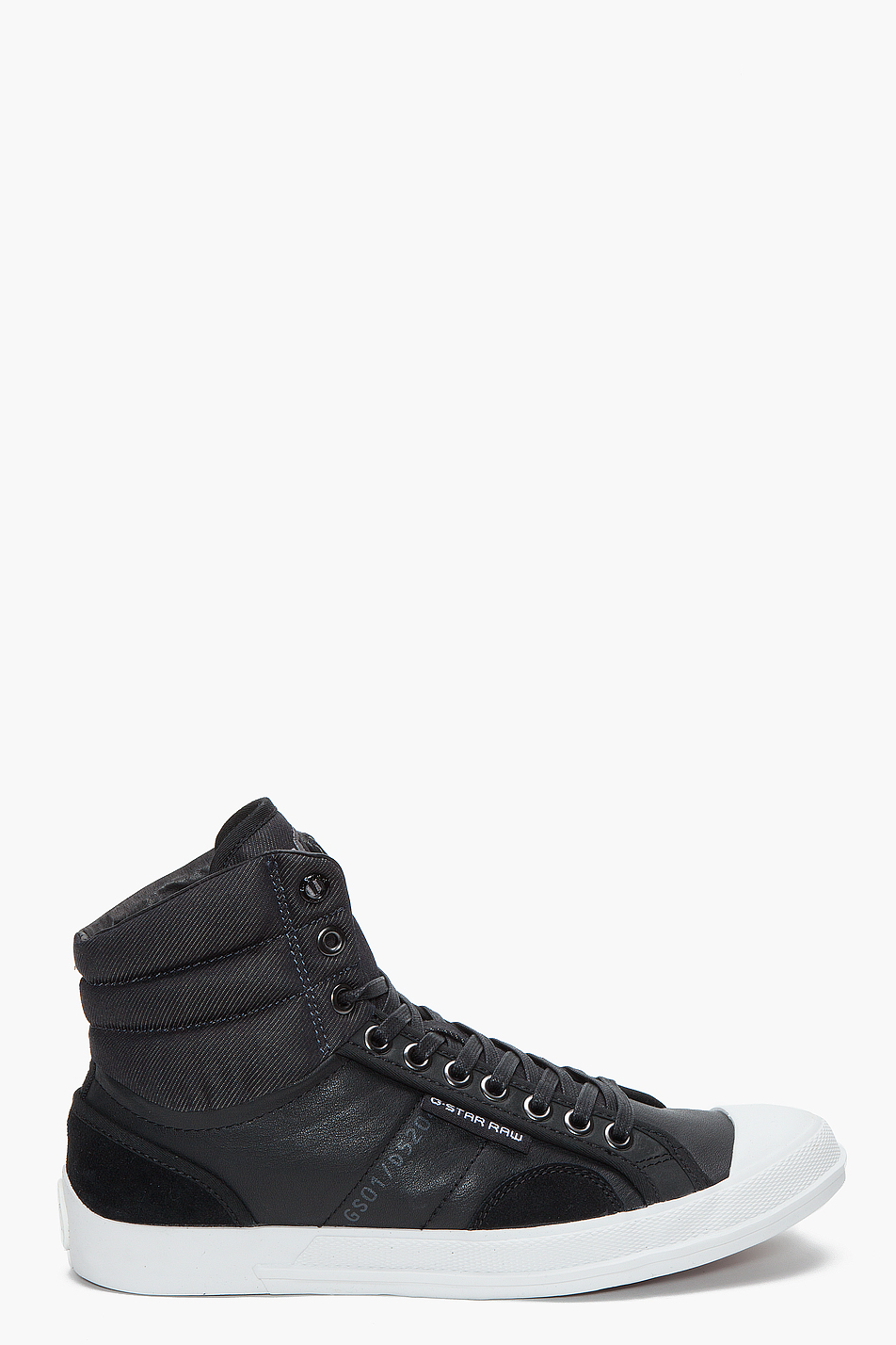 g star raw alibi welter hi leather sneakers in black for men lyst. Black Bedroom Furniture Sets. Home Design Ideas