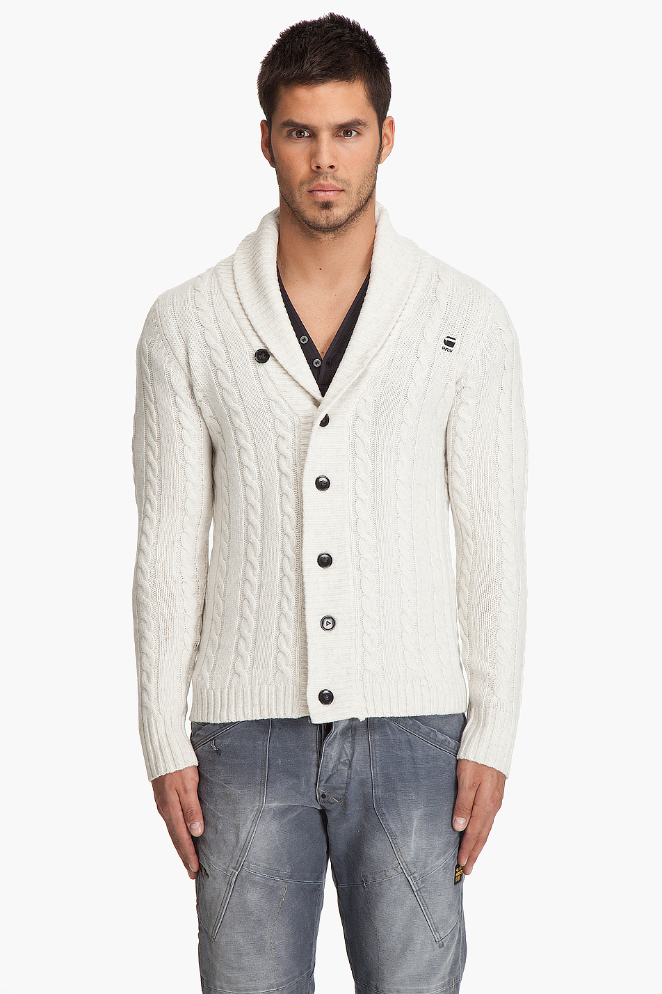 g star raw east shawl cardigan in beige for men cream lyst. Black Bedroom Furniture Sets. Home Design Ideas