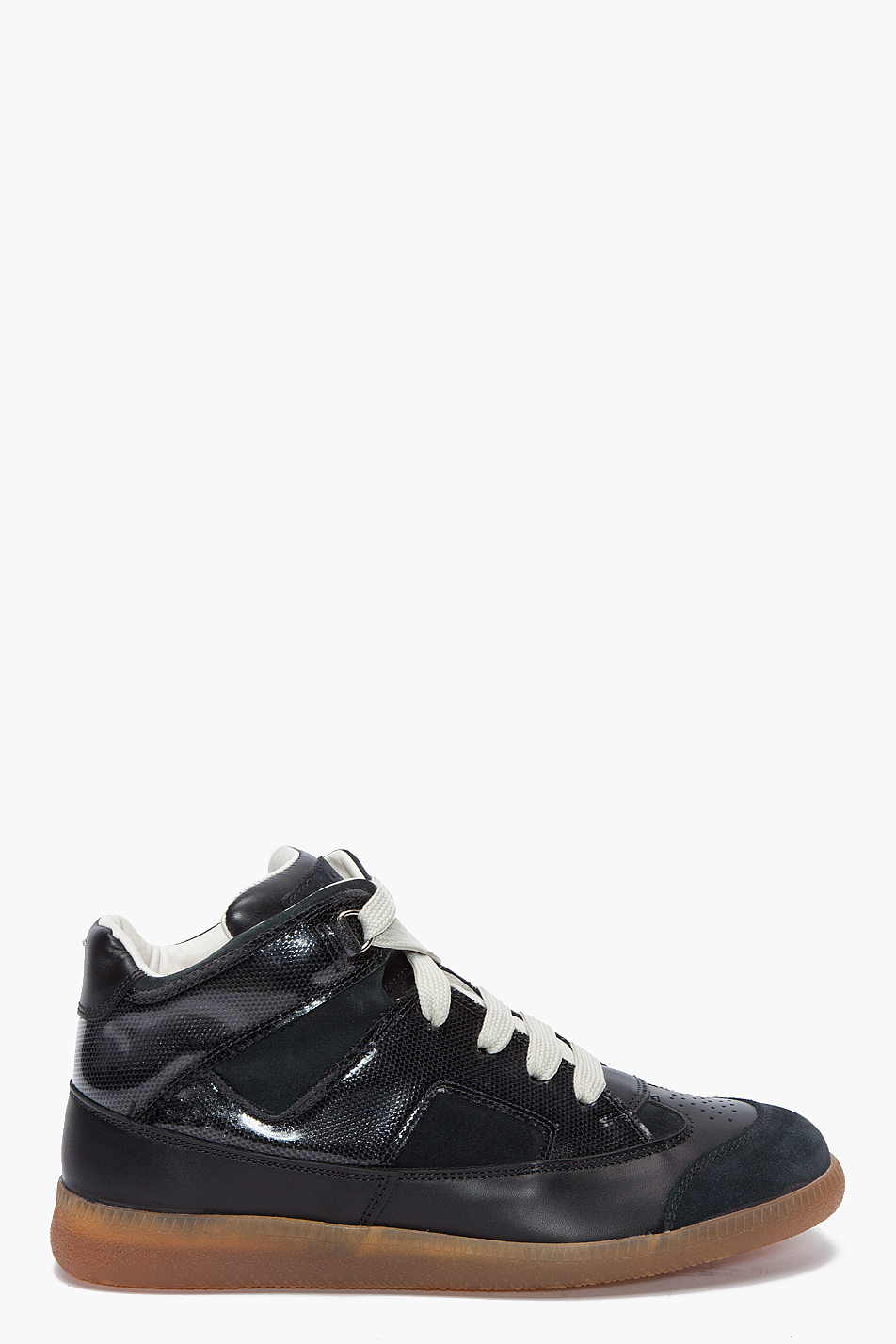 maison martin margiela mid top techno sneakers in black for men lyst. Black Bedroom Furniture Sets. Home Design Ideas